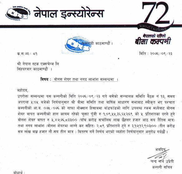 nepal insurance dividend
