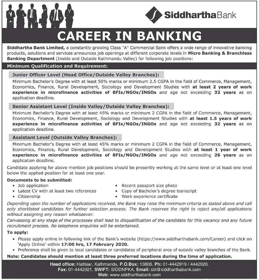 vacancy siddhartha bank